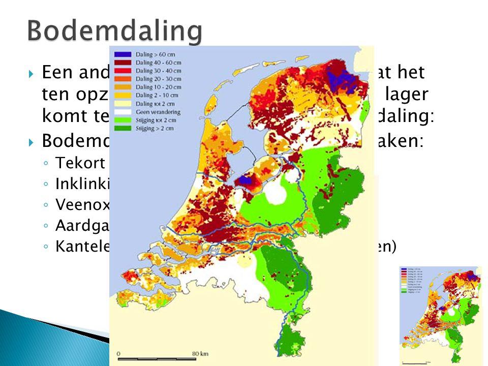 Bodemdaling Een ander groot probleem bij NL, is dat het ten opzichte van de zeespiegel steeds lager komt te liggen. Dit komt door bodemdaling: