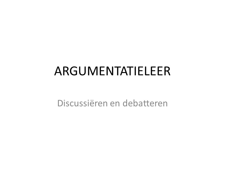 Discussiëren en debatteren