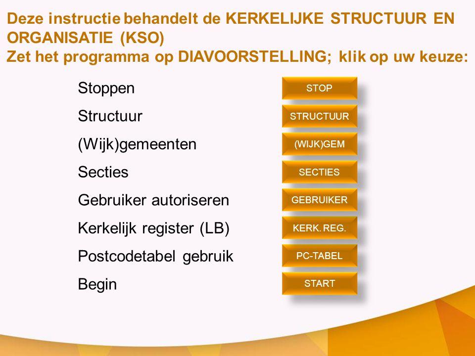 Deze instructie behandelt de KERKELIJKE STRUCTUUR EN ORGANISATIE (KSO)