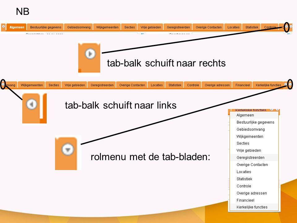 NB tab-balk schuift naar rechts tab-balk schuift naar links rolmenu met de tab-bladen: