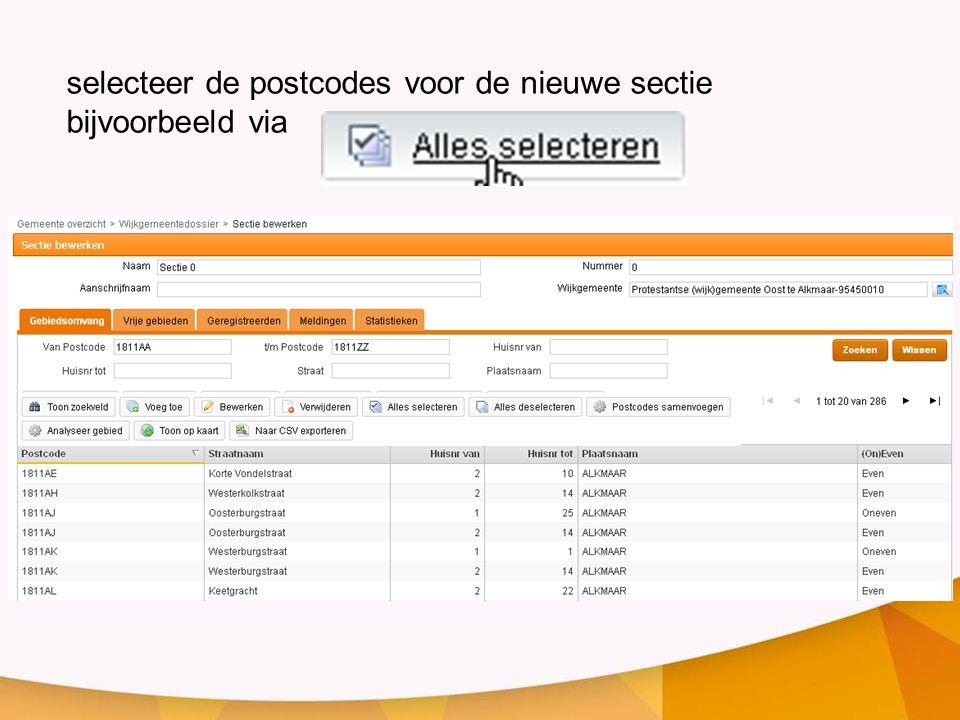 selecteer de postcodes voor de nieuwe sectie