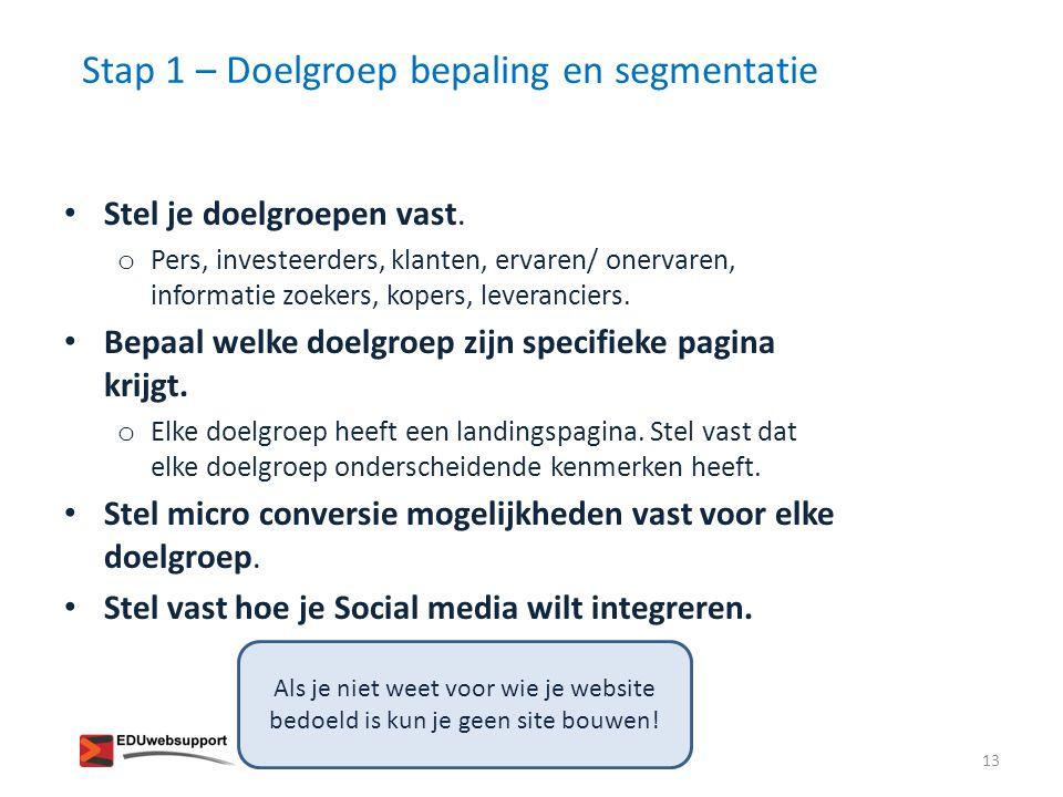 Stap 1 – Doelgroep bepaling en segmentatie