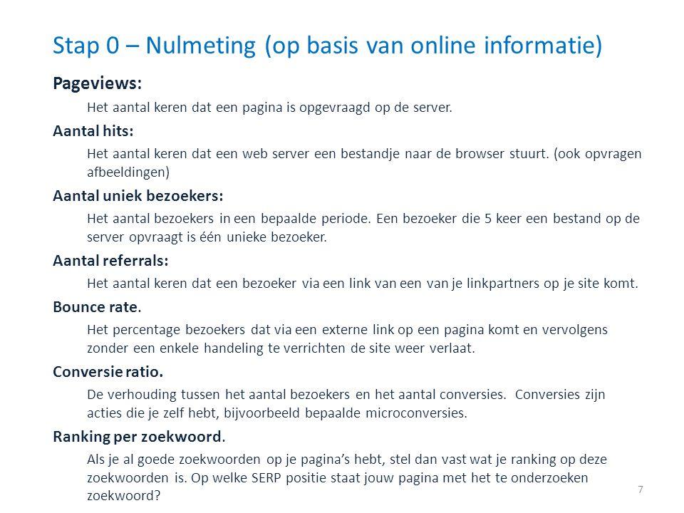 Stap 0 – Nulmeting (op basis van online informatie)