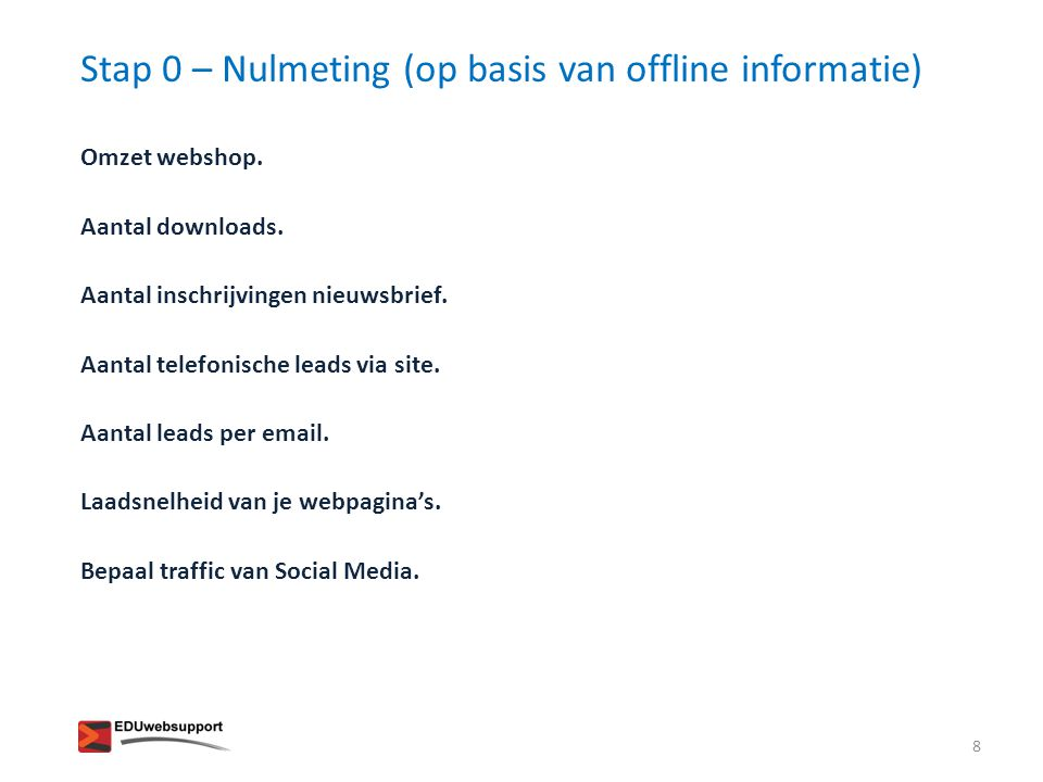 Stap 0 – Nulmeting (op basis van offline informatie)
