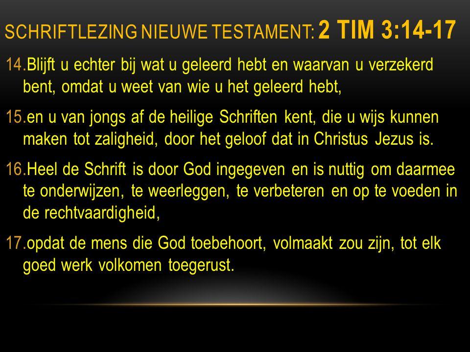 Schriftlezing nieuwe testament: 2 Tim 3:14-17