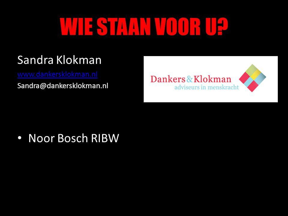 WIE STAAN VOOR U Sandra Klokman Noor Bosch RIBW www.dankersklokman.nl