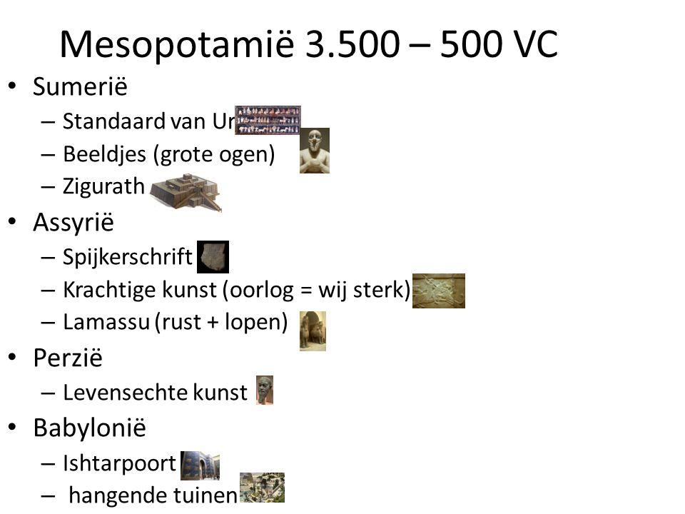 Mesopotamië 3.500 – 500 VC Sumerië Assyrië Perzië Babylonië
