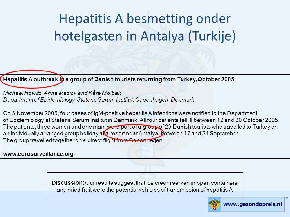 Hepatitis A besmetting onder hotelgasten in Antalya (Turkije)