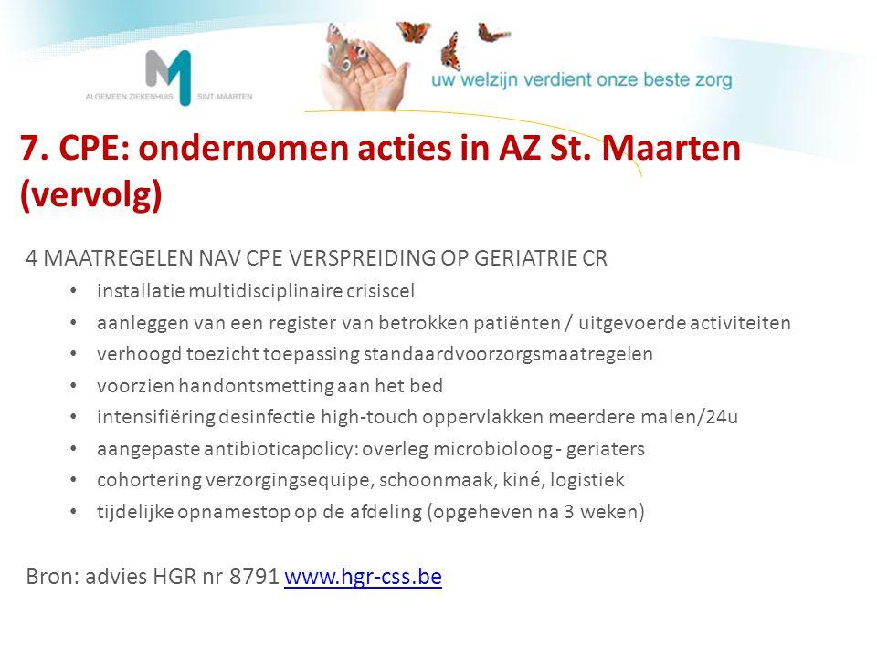 7. CPE: ondernomen acties in AZ St. Maarten (vervolg)