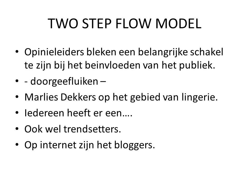 TWO STEP FLOW MODEL Opinieleiders bleken een belangrijke schakel te zijn bij het beinvloeden van het publiek.