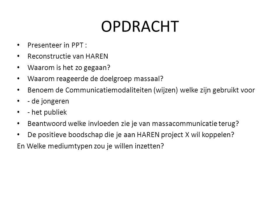 OPDRACHT Presenteer in PPT : Reconstructie van HAREN