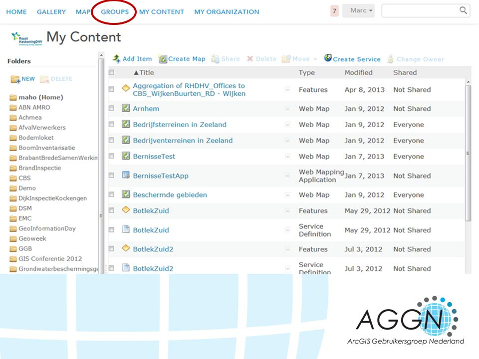 Ben je al aangemeld bij ArcGIS.com Ga dan naar Groups