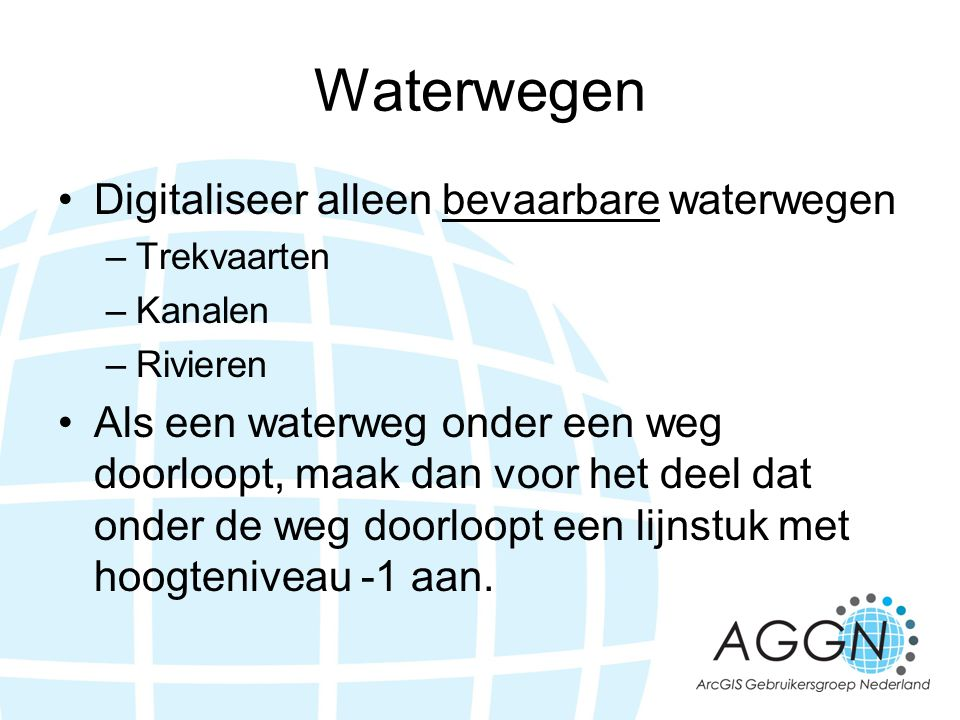 Waterwegen Digitaliseer alleen bevaarbare waterwegen