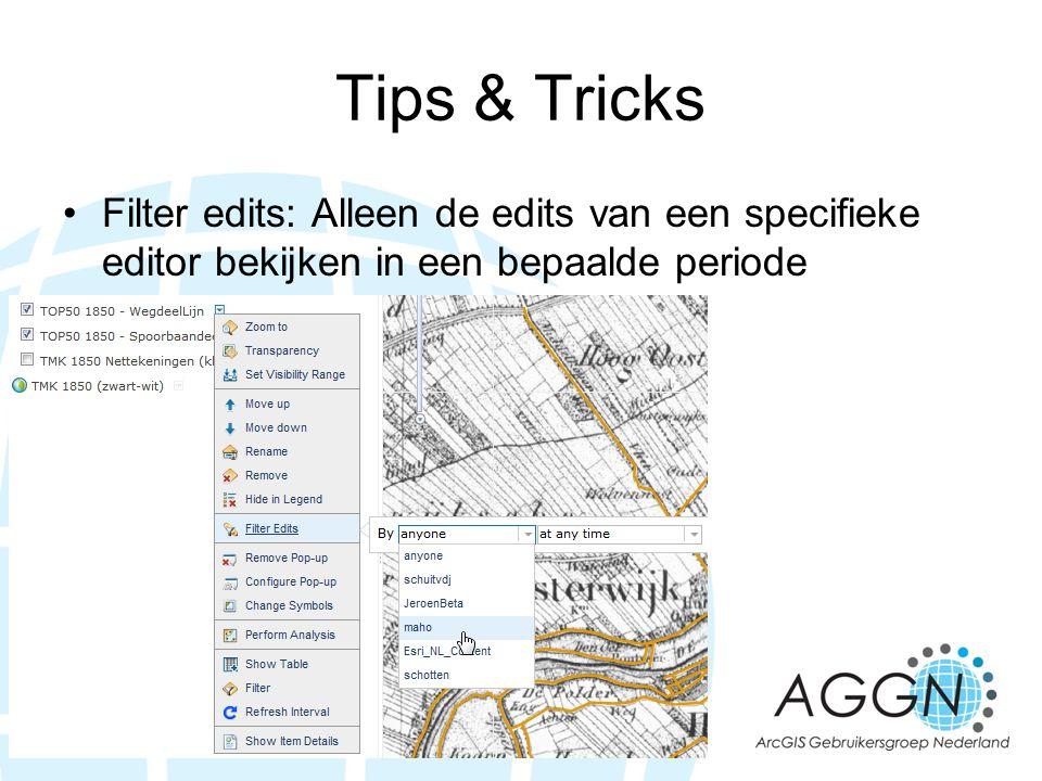 Tips & Tricks Filter edits: Alleen de edits van een specifieke editor bekijken in een bepaalde periode.
