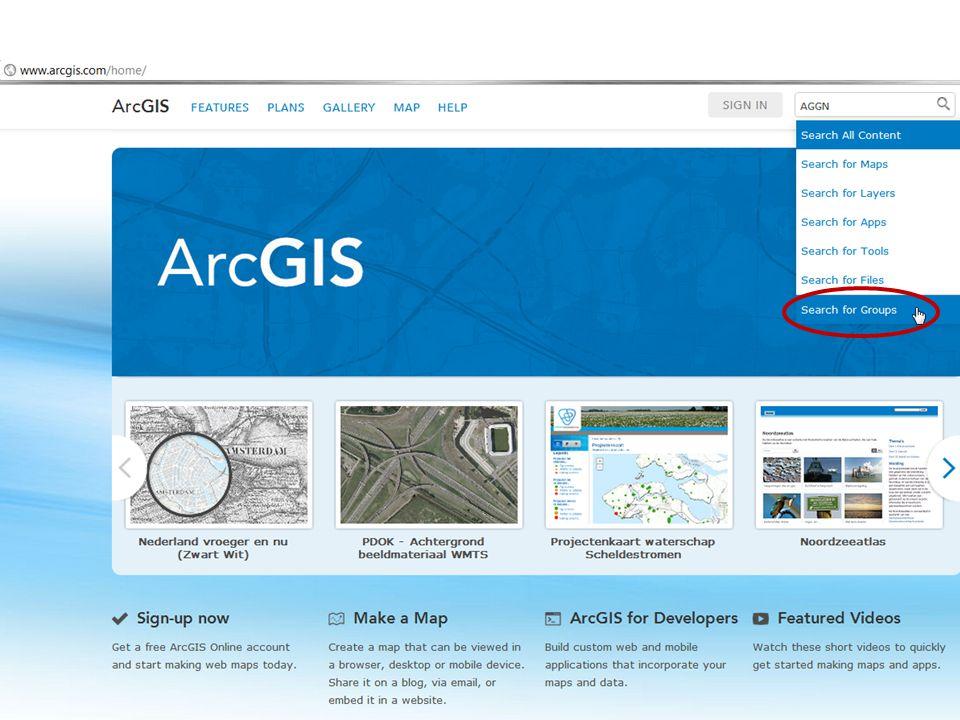 Zoek in ArcGIS.com de AGGN 1850 – Topografische kaart groep op