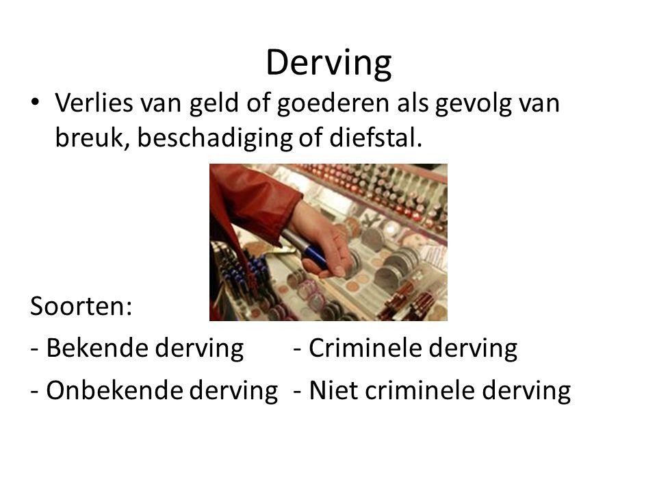 Derving Verlies van geld of goederen als gevolg van breuk, beschadiging of diefstal. Soorten: - Bekende derving - Criminele derving.