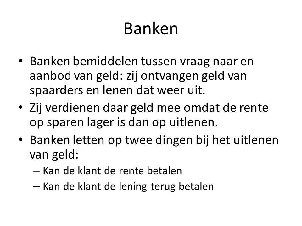 Banken Banken bemiddelen tussen vraag naar en aanbod van geld: zij ontvangen geld van spaarders en lenen dat weer uit.