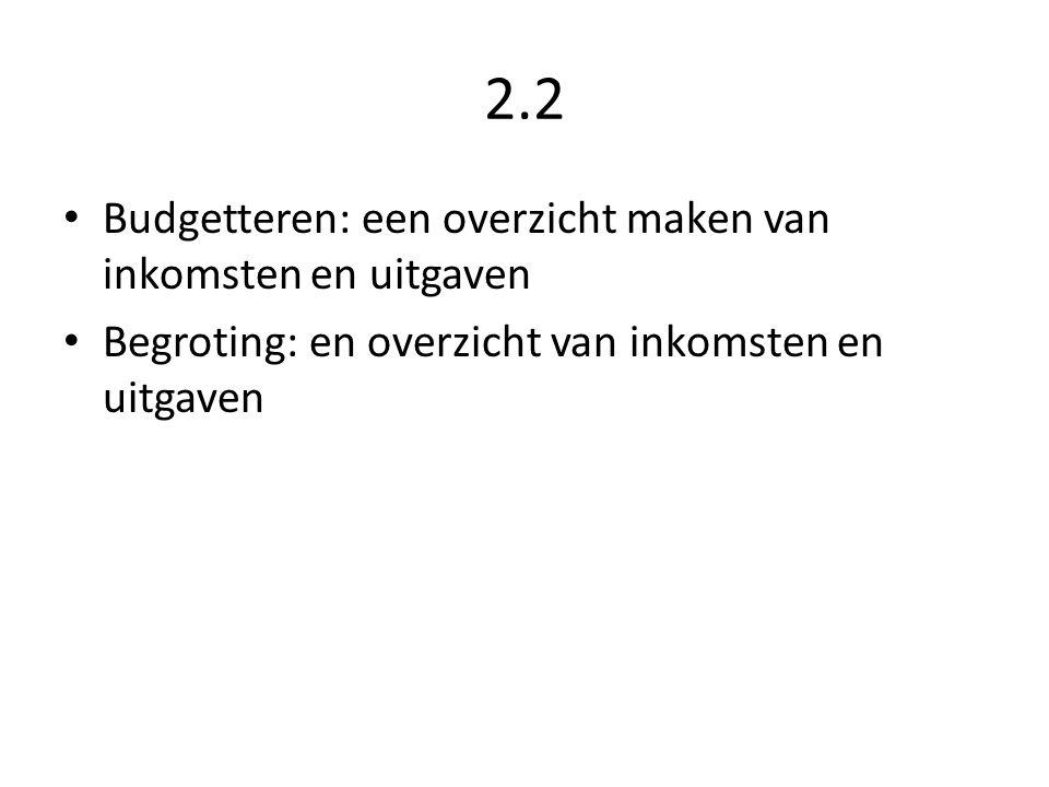2.2 Budgetteren: een overzicht maken van inkomsten en uitgaven