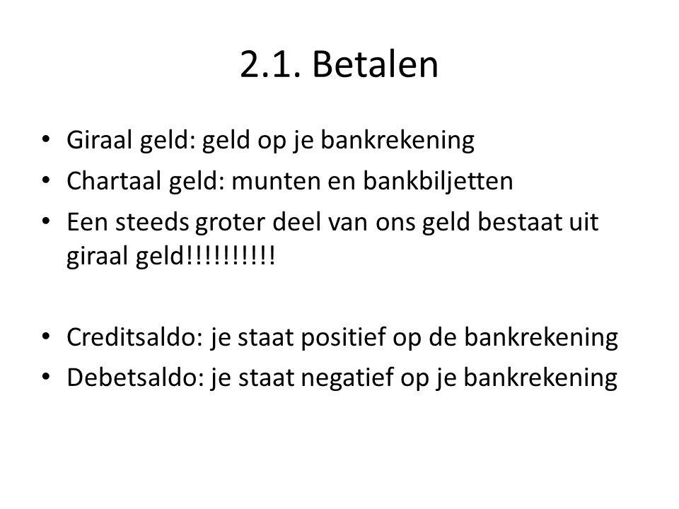 2.1. Betalen Giraal geld: geld op je bankrekening