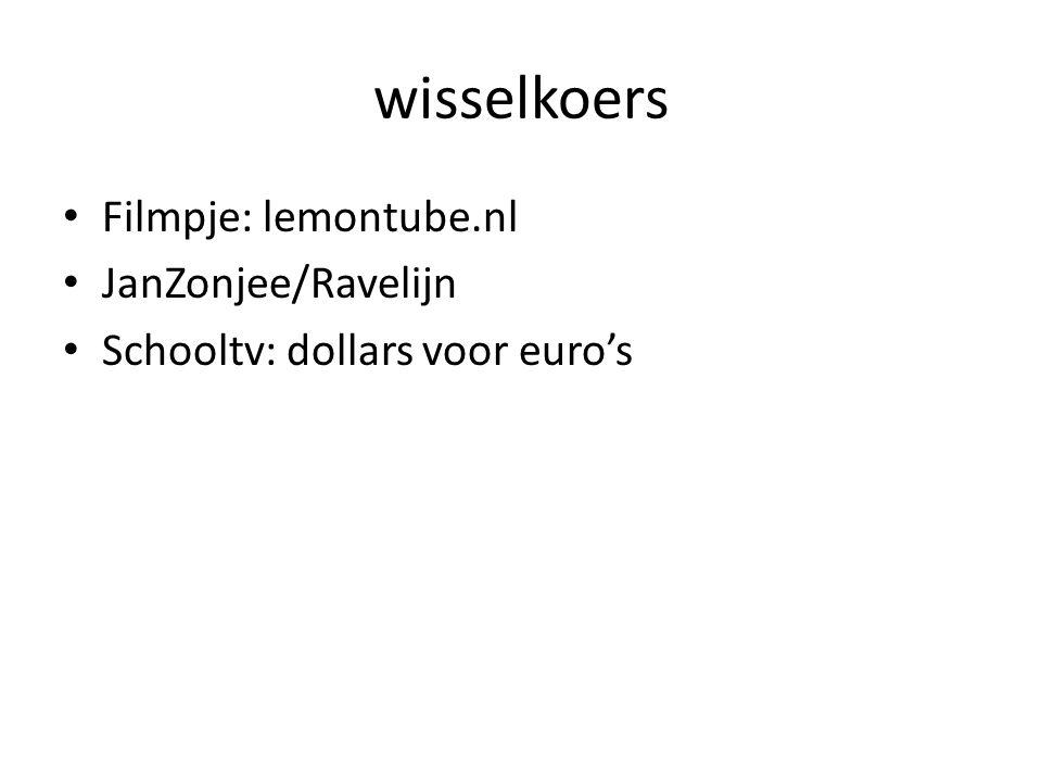 wisselkoers Filmpje: lemontube.nl JanZonjee/Ravelijn