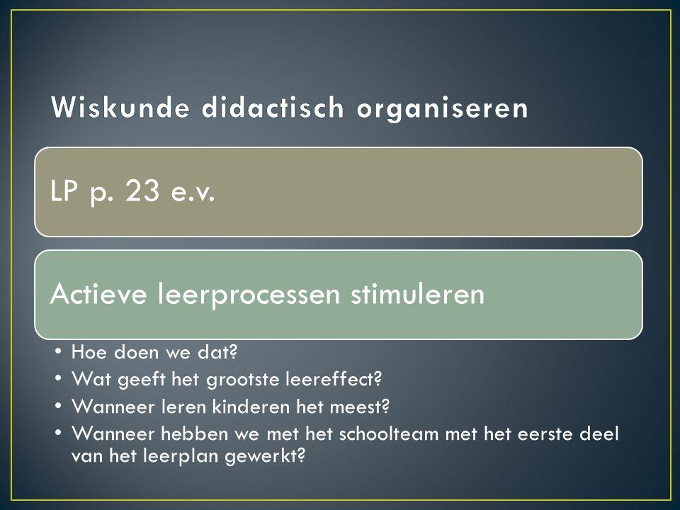 Wiskunde didactisch organiseren
