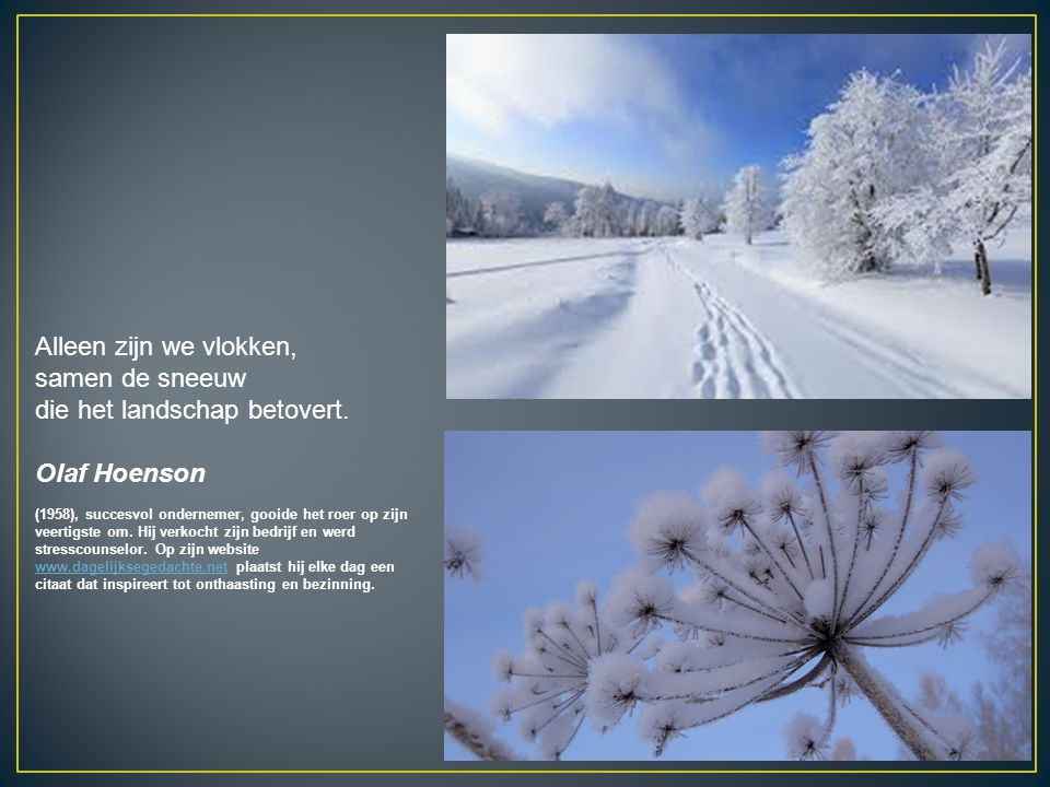 Alleen zijn we vlokken, samen de sneeuw die het landschap betovert.