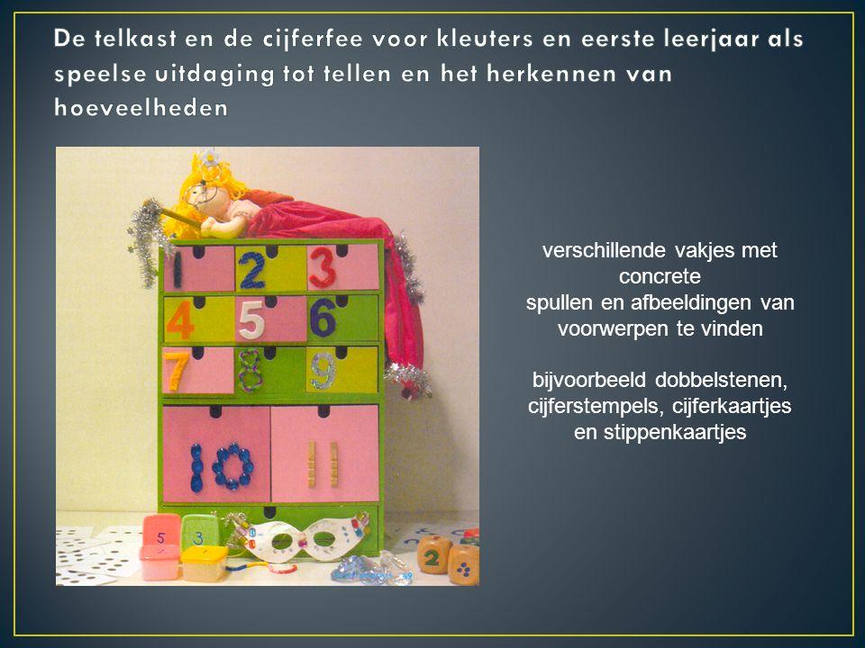 De telkast en de cijferfee voor kleuters en eerste leerjaar als speelse uitdaging tot tellen en het herkennen van hoeveelheden