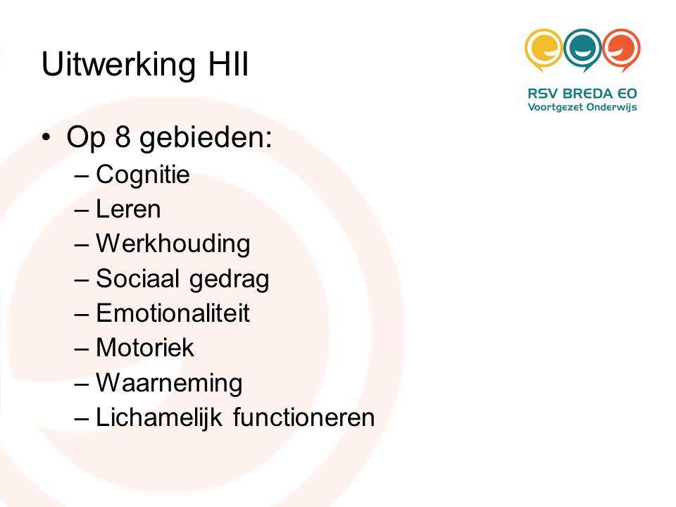 Uitwerking HII Op 8 gebieden: Cognitie Leren Werkhouding