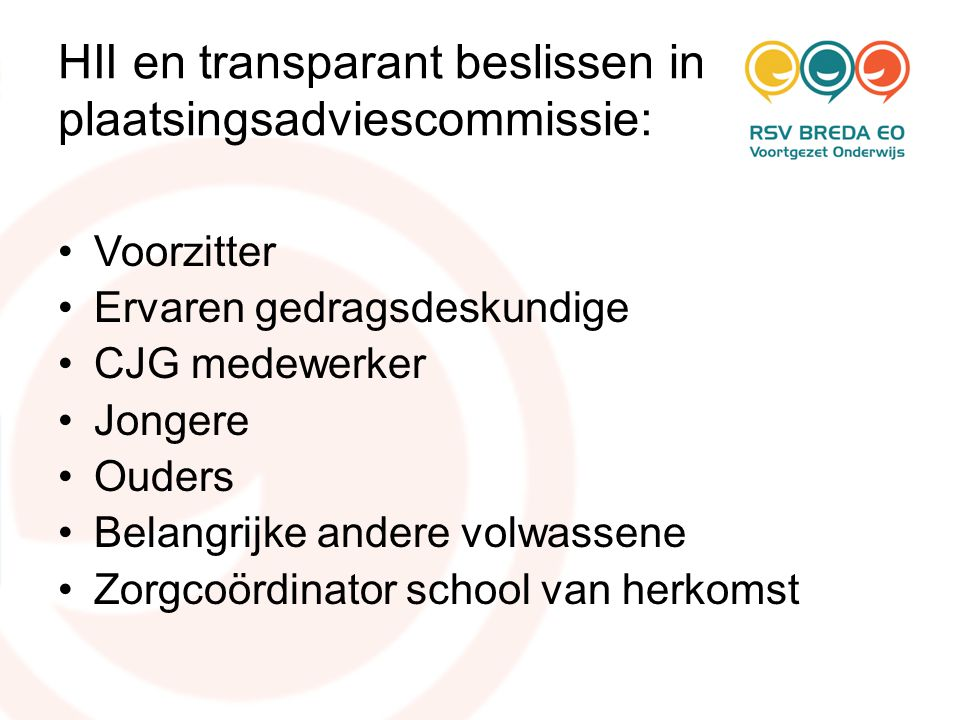 HII en transparant beslissen in plaatsingsadviescommissie: