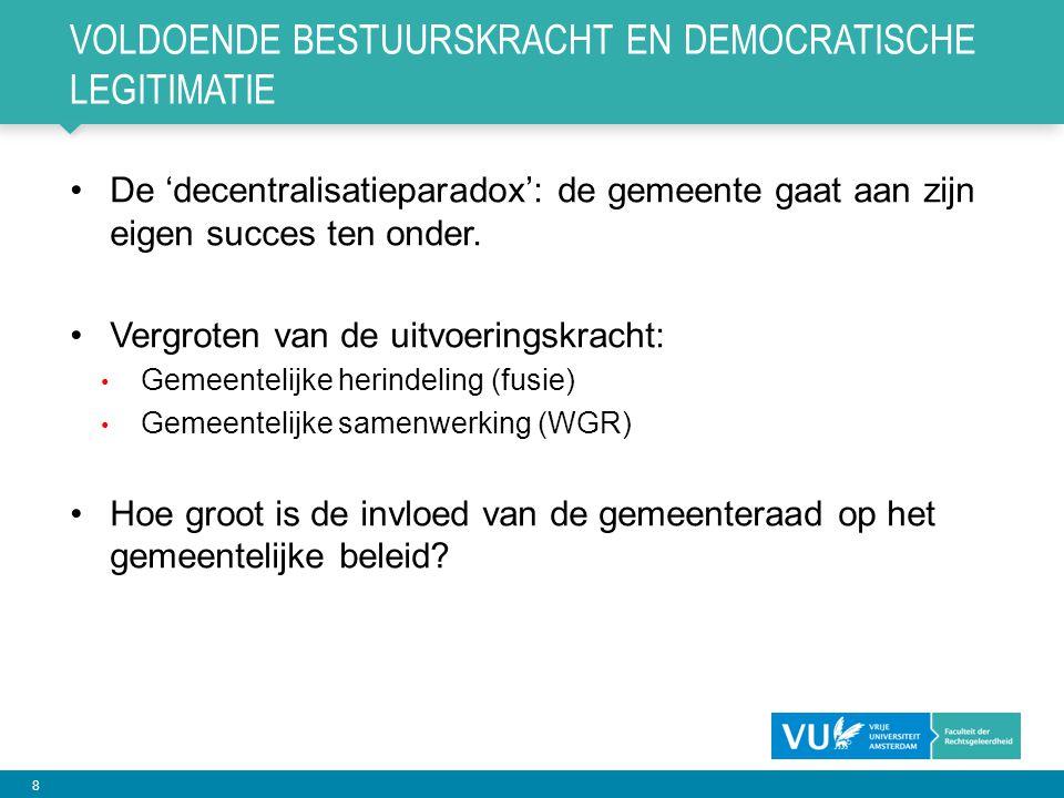 Voldoende bestuurskracht en democratische legitimatie