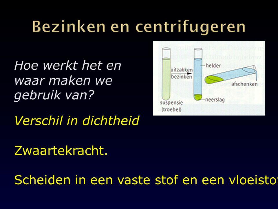 Bezinken en centrifugeren
