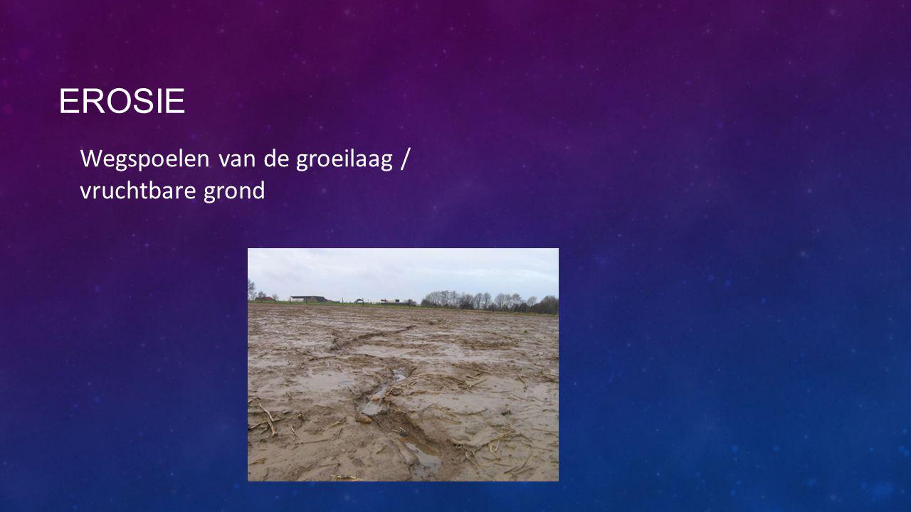 Erosie Wegspoelen van de groeilaag / vruchtbare grond
