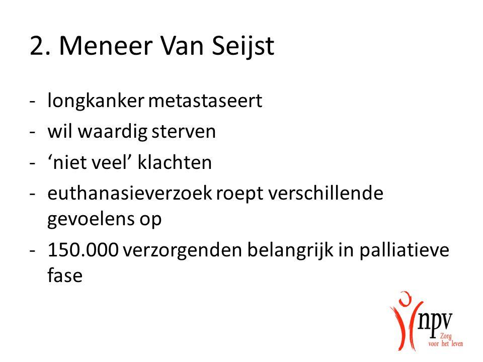 2. Meneer Van Seijst longkanker metastaseert wil waardig sterven