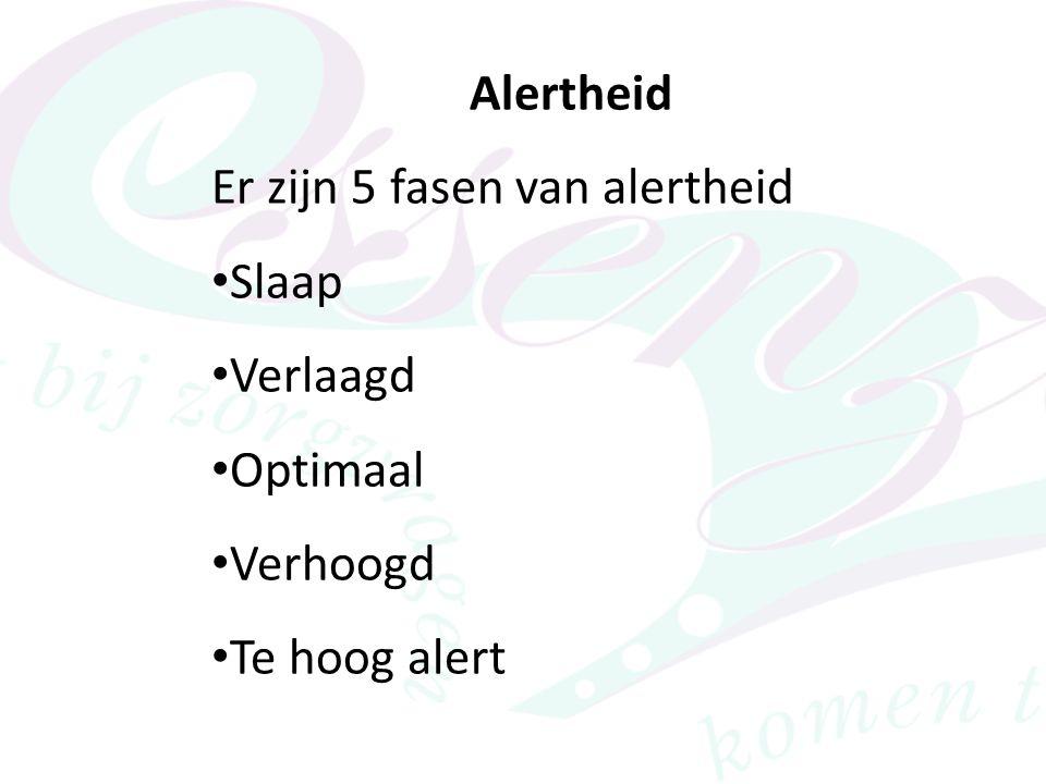 Alertheid Er zijn 5 fasen van alertheid Slaap Verlaagd Optimaal Verhoogd Te hoog alert