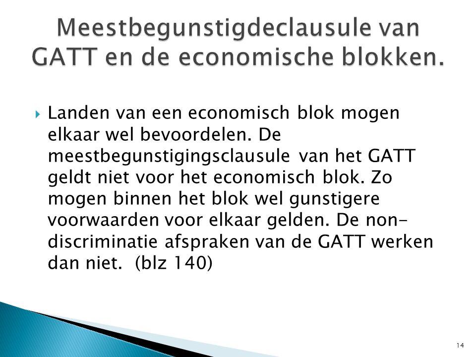 Meestbegunstigdeclausule van GATT en de economische blokken.