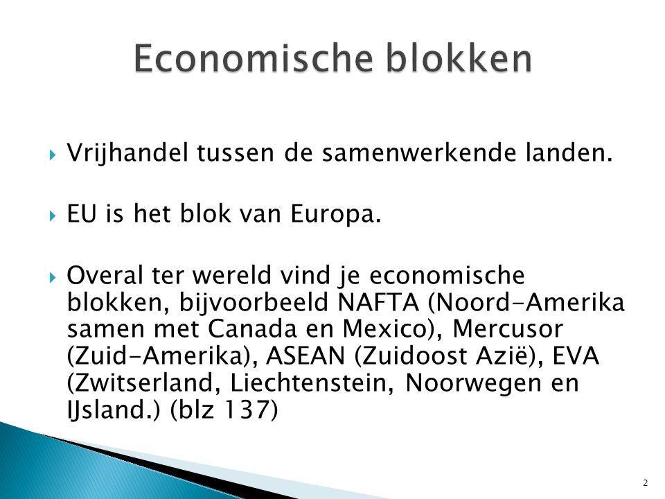 Economische blokken Vrijhandel tussen de samenwerkende landen.