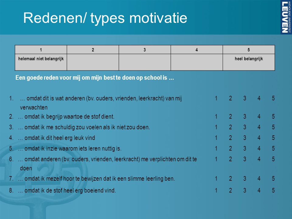 Redenen/ types motivatie