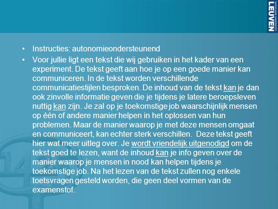 Instructies: autonomieondersteunend