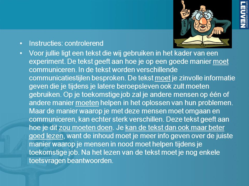 Instructies: controlerend
