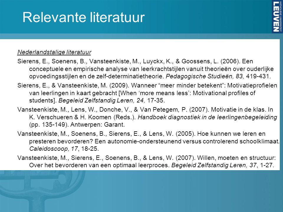 Relevante literatuur Nederlandstalige literatuur