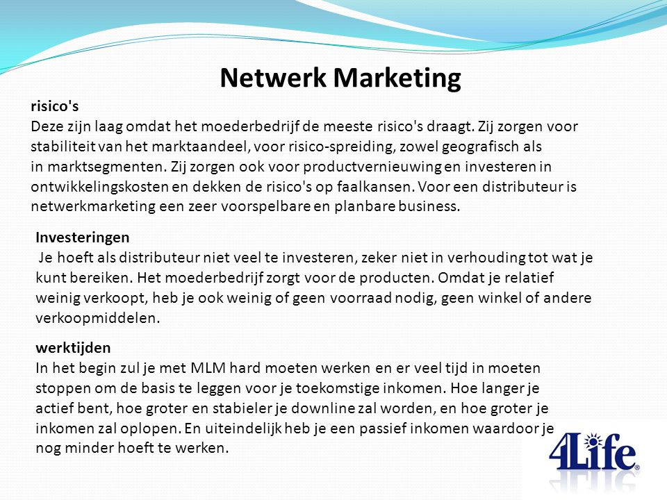 Netwerk Marketing risico s