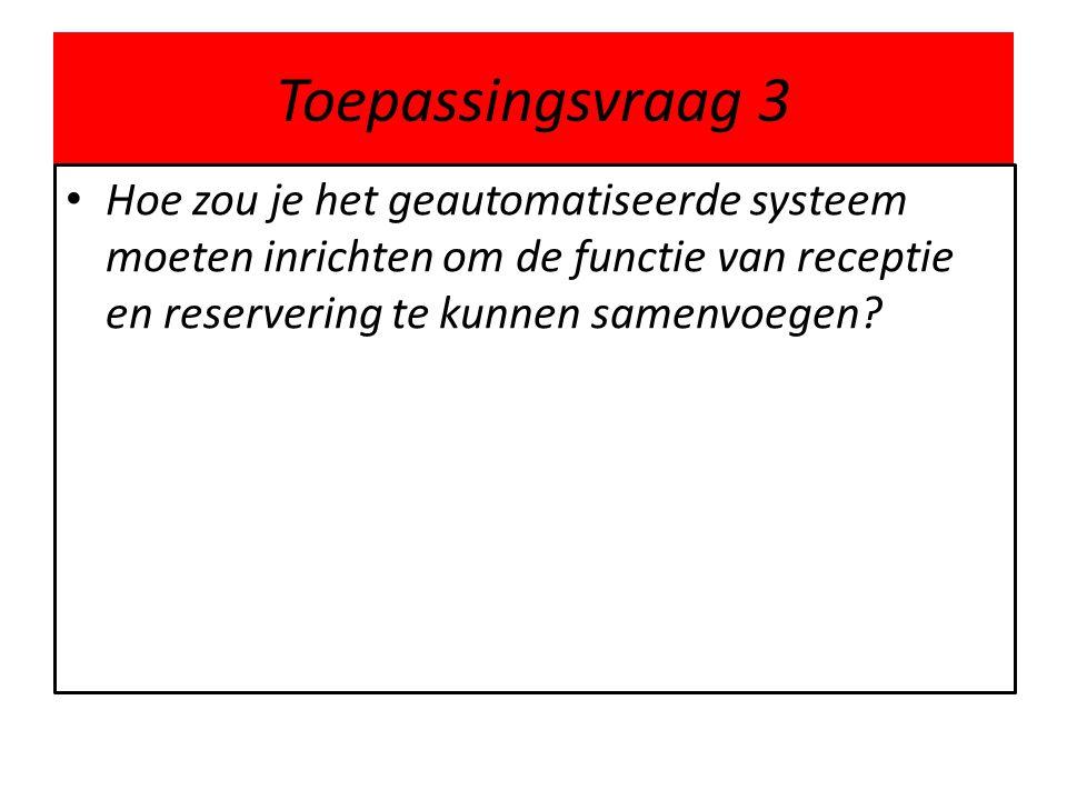 Toepassingsvraag 3 Hoe zou je het geautomatiseerde systeem moeten inrichten om de functie van receptie en reservering te kunnen samenvoegen