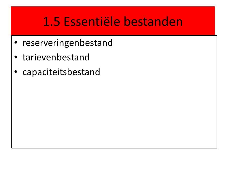 1.5 Essentiële bestanden reserveringenbestand tarievenbestand