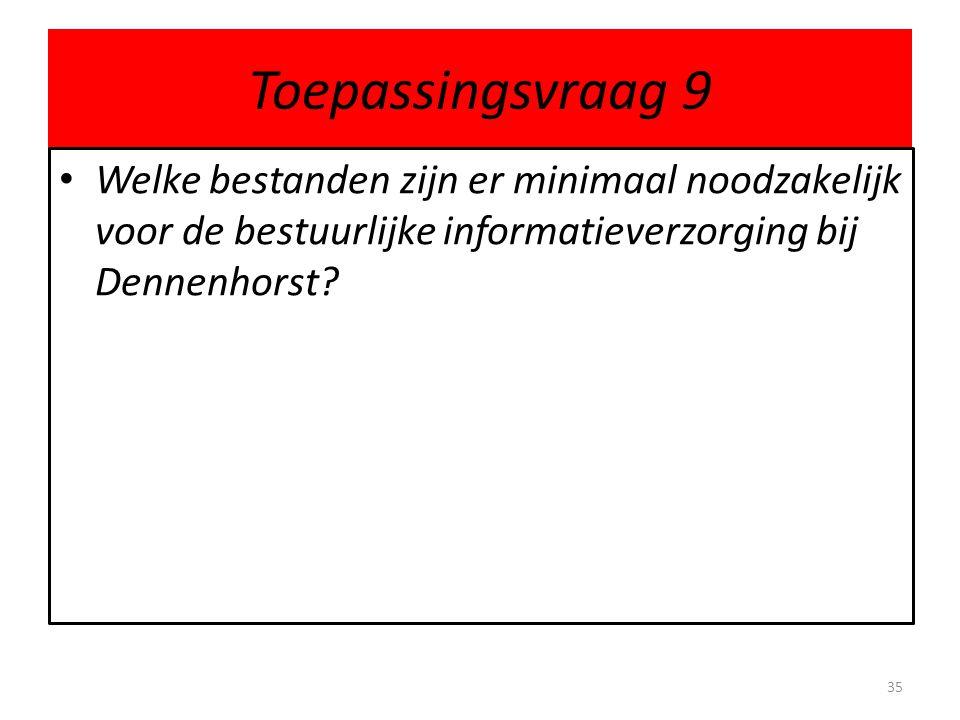 Toepassingsvraag 9 Welke bestanden zijn er minimaal noodzakelijk voor de bestuurlijke informatieverzorging bij Dennenhorst
