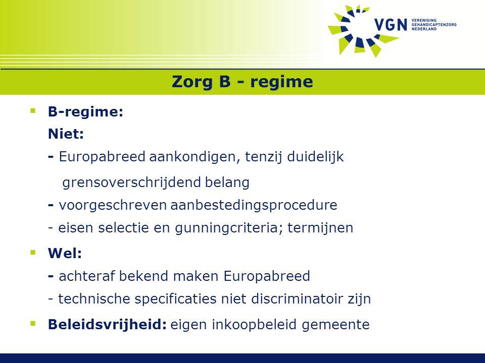 Zorg B - regime B-regime: Niet: - Europabreed aankondigen, tenzij duidelijk.