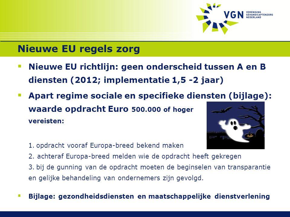 Nieuwe EU regels zorg Nieuwe EU richtlijn: geen onderscheid tussen A en B diensten (2012; implementatie 1,5 -2 jaar)