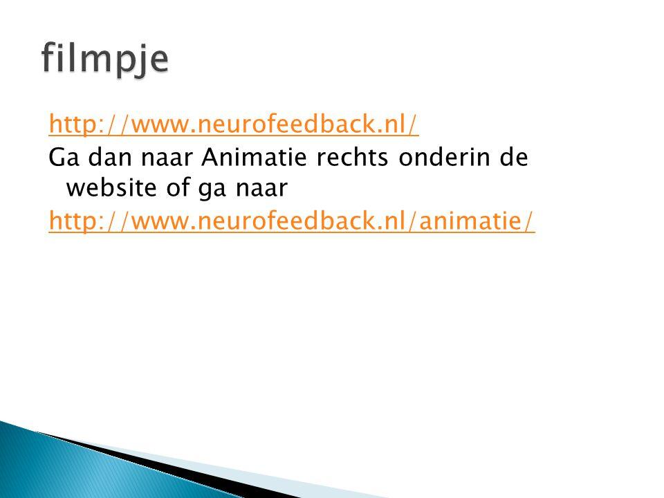 filmpje http://www.neurofeedback.nl/ Ga dan naar Animatie rechts onderin de website of ga naar http://www.neurofeedback.nl/animatie/
