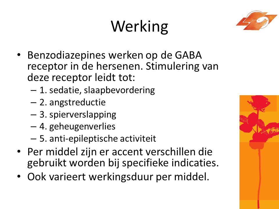 Werking Benzodiazepines werken op de GABA receptor in de hersenen. Stimulering van deze receptor leidt tot: