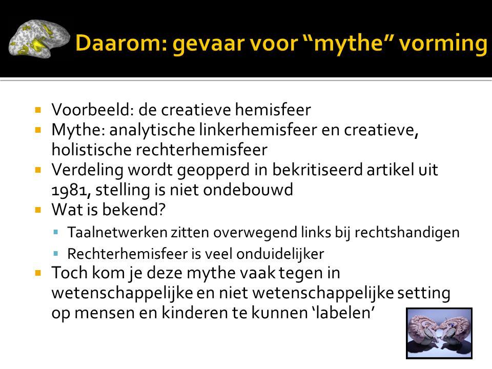 Daarom: gevaar voor mythe vorming