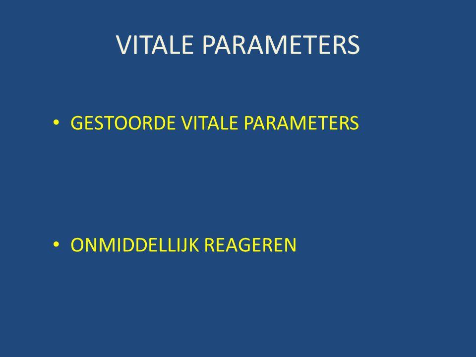VITALE PARAMETERS GESTOORDE VITALE PARAMETERS ONMIDDELLIJK REAGEREN